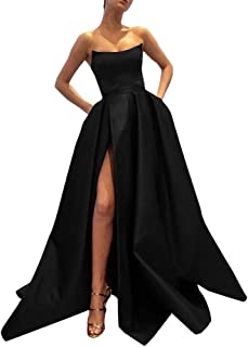 Womens Long Satin Prom Dress Slit Evening Ball Gown With Pockets