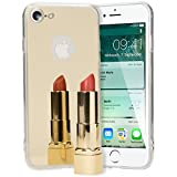 NALIA Funda Espejo Compatible con iPhone 7, Protectora Movil Carcasa Silicona Ultra-Fina Gel Bumper Mirror Case, Goma Cubierta Telefono Cobertura Delgado Ligera Smart-Phone Cover, Color:Gold Oro
