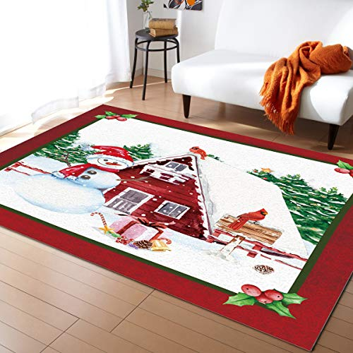 Area Rug Runner 3x5ft, Christmas Snowman Barn Outdoor Runner Rugs Carpet for Hallway/Bedroom/Kitchen/Living Room/Indoor, Low Profile Pile, Non Slip, Farm Tree Holly Berry