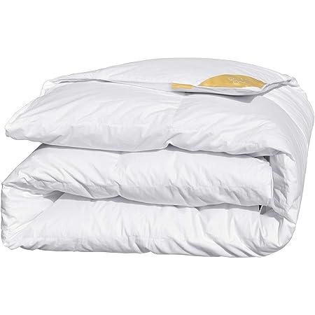 puredown® Couette Légère Blanche 135x200cm Enveloppe 100% Coton Remplissage en Duvet d'oie et Plumes, 280 GR/m², 10.5 Tog - Couette 4 Saisons Disponibles