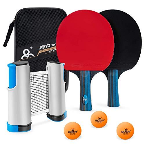 PGFUNNY Tischtennis-Set Tischtennis Kit mit tragbarem einziehbarem Tischtennisnetze,Tischtennis-Schläger und 3-Stern Tischtennis-Bälle Ping Pong Zubehör für Profi- und Freizeitspiele