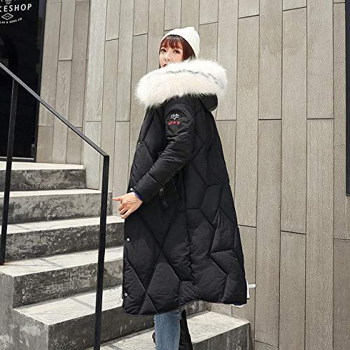 WFSDKN Damesparka New Fur met capuchon, dik, warm, dun, lang, donsjas, solide lange mouwen, zakken met ritssluiting, outwears, dames, harddonsjas