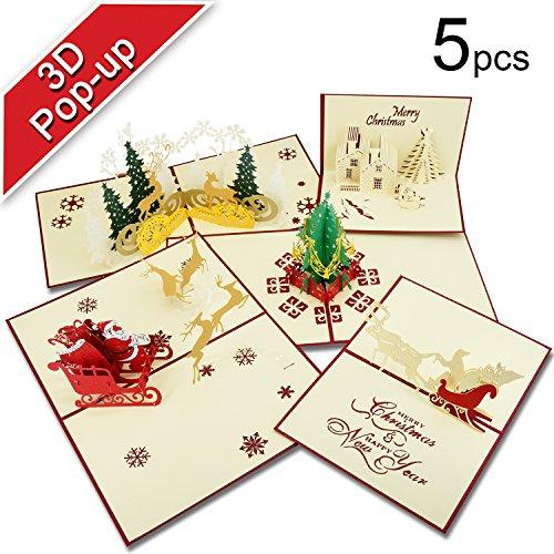Biglietti Di Natale, T Antrix 3D Pop Up Biglietti Di Auguri Di Natale Regalo Per Natale/Capodanno Di 5 Carte E Buste
