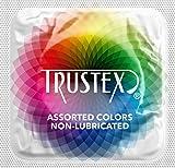 Trustex Non-Lubricated Colors with Silver Lunamax Pocket Case, Premium Colored Latex Condoms-24 Count