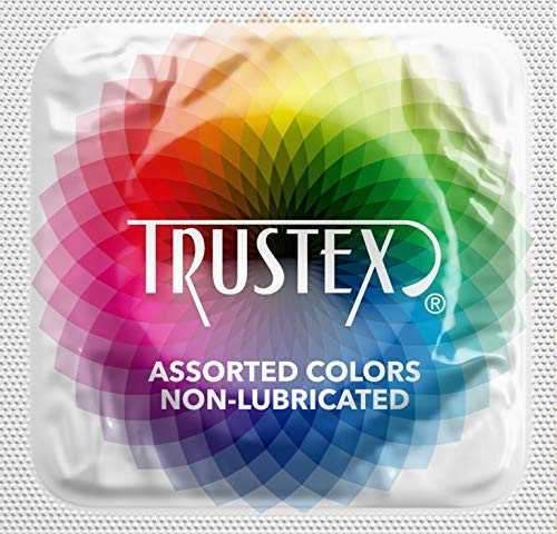 Trustex Non-Lubricated Colors with Silver Lunamax Pocket Case, Premium Colored Latex Condoms-24 Count
