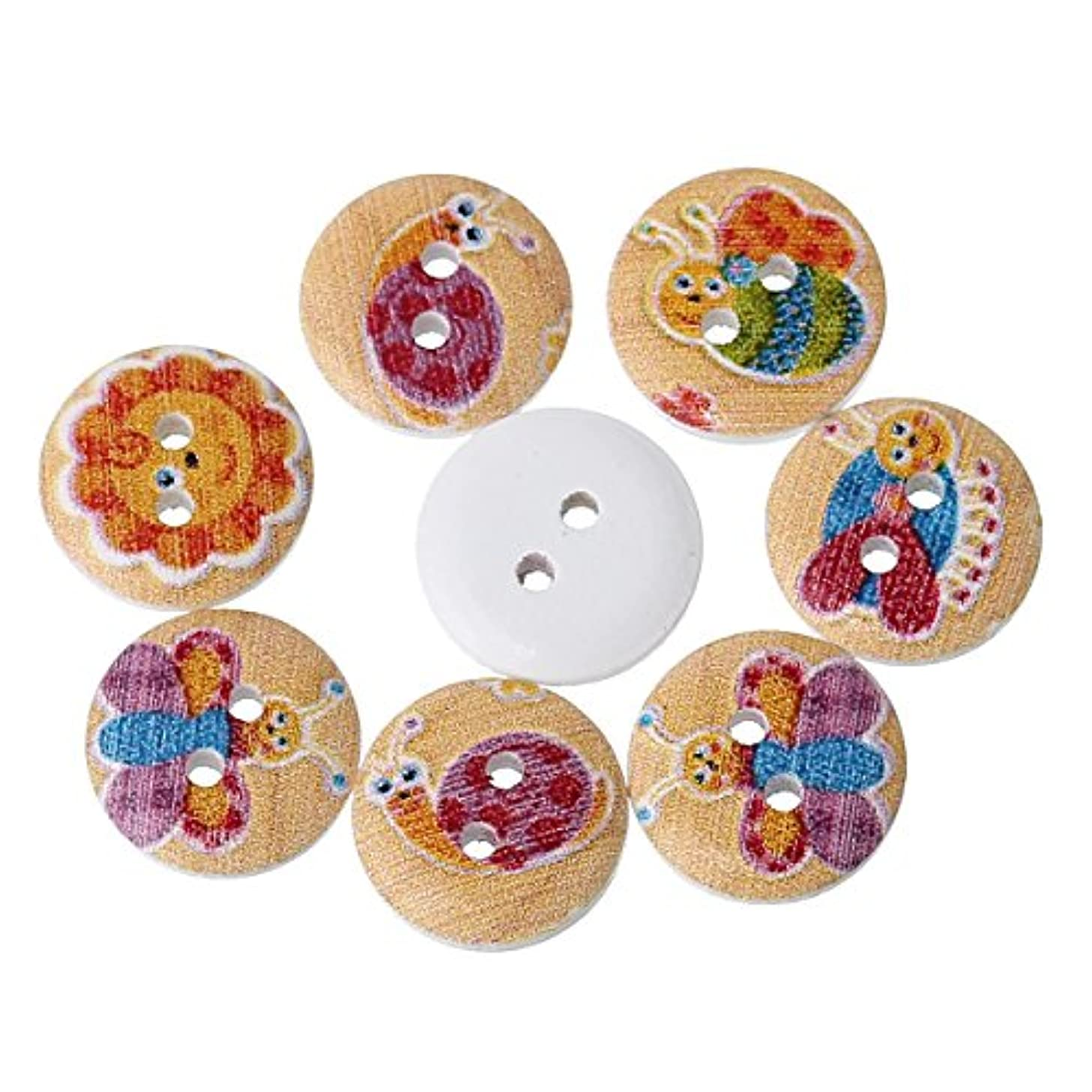 PEPPERLONELY Brand 100PC Insects Mixed 2 Hole Scrapbooking Sewing Wood Buttons 15mm(5/8 Inch)