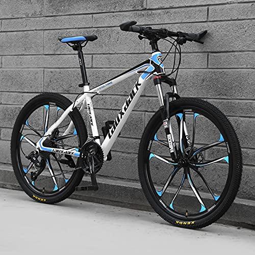 26'' Bicicleta De Montaña, Sistema De Frenos Disco Doble, 21/24/27 Velocidades, Marco Acero Ligero con Alto Contenido De Carbono, Configuración Super White-Blue-24 Speed