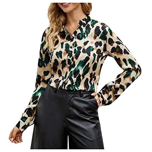 Dasongff dames blouse luipaardpatroon hemd V-hals button down shirt kraag lange mouwen top shirt met lange mouwen casual tuniek luchtig vrijetijdshemd business street wear Small zwart