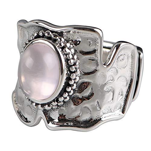 XIAOLIAN Ring S925 Silber Vintage Alte Frauen Mode Glänzend Eingelegte Rosa Kristallöffnung...