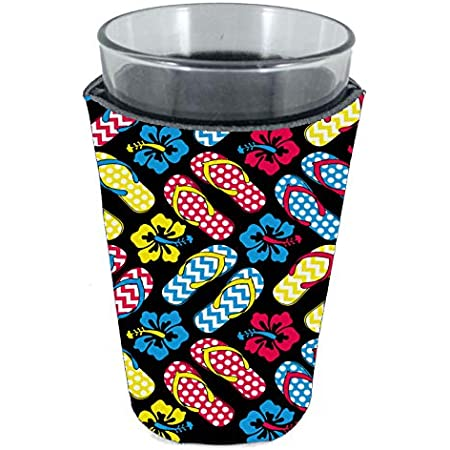 Hibiscus Pattern Pint Glass Coolie