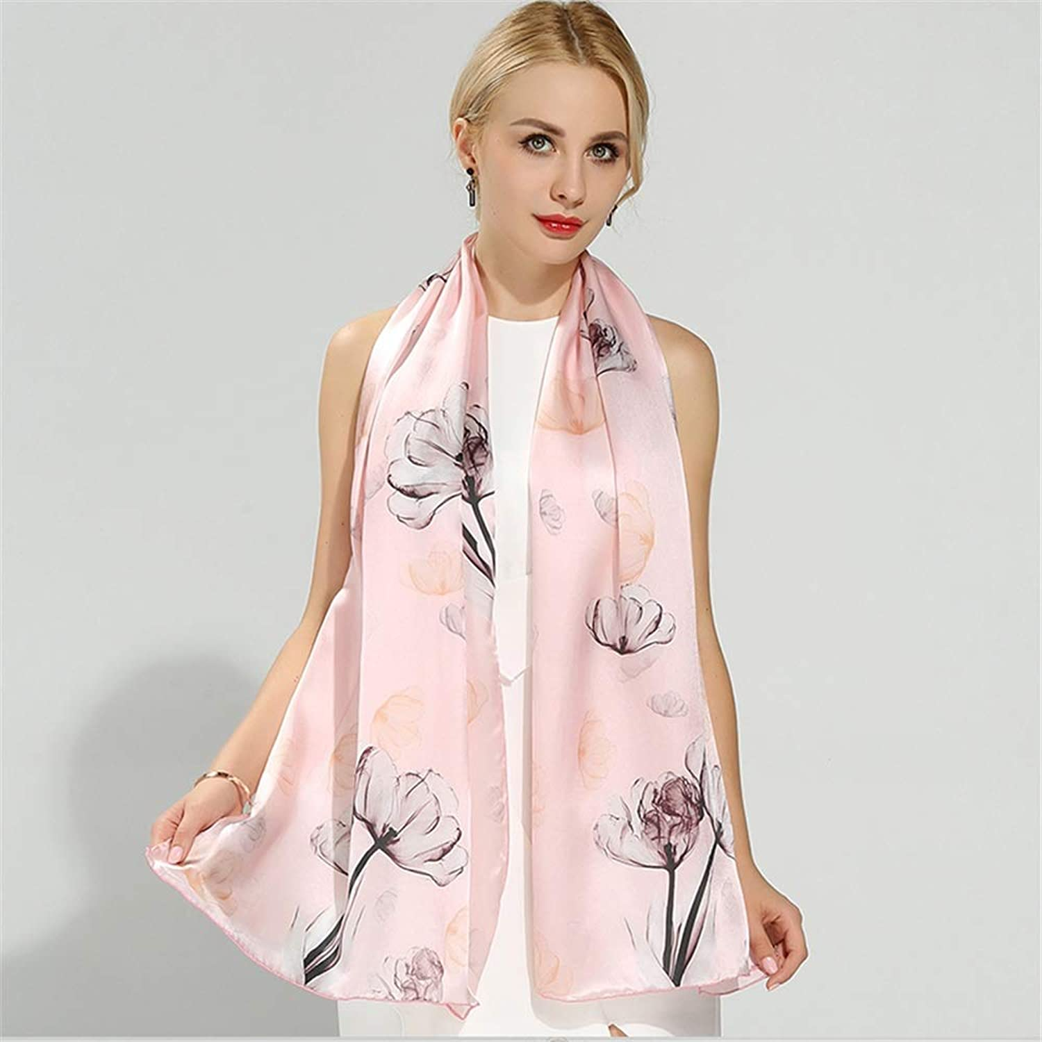 Women's Silk Scarf Printed Silk Long Silk Scarf for Party Wedding Dating, 20  74 Inch (color   Natural)