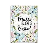 Muttertagskarte, Postkarte Muttertag 'Mutti, Du bist die Beste!'