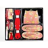 はこせこ セット 七五三 7歳 女の子 金襴生地の筥迫セット 草履 21cm「ピンク」DHS103