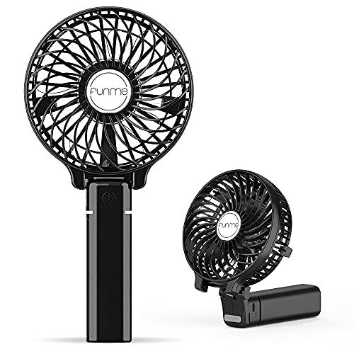 FUNME Ventilateur Batterie Rechargeable 2600mAH Garantie à Vie Ventilateur à Main 3 Vitesses Ventilo USB Silencieux Noir pour Voyage Plage Bureau Camping