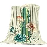 Manta de Franela para sofá Cama de Color Vivo Cactus Flor Planta Suave acogedora Manta Ligera para Adultos / niños
