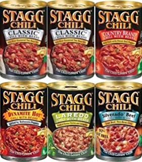 Stagg Chili with Beans Sampler Pack 15oz (Variety pack of 6 w/ 2 Classic, 1 Country Brand, 1 Dynamite Hot, 1 Silverado Beef & 1 Laradeo)