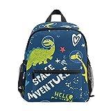Mochila Escolar para niños con Correa para el Pecho, Colorido Unicornio para Estudiantes y niños Azul Dinosaurio 089 Talla única