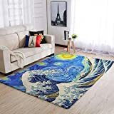superyu Alfombra para entrada Great Wave in Starry Night Microfibra puerta Mat para otras áreas comunes blanco 122x183cm
