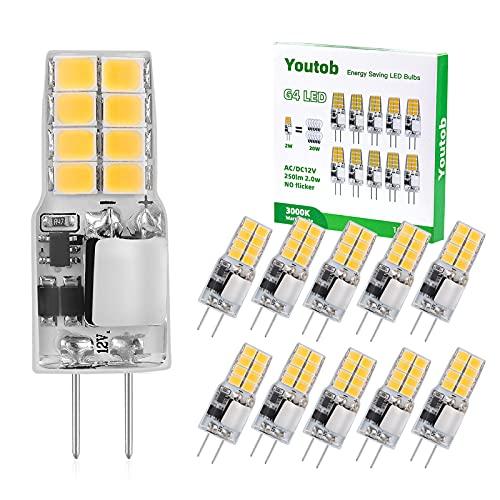 Youtob G4 LED-Glühbirnen, 2W (20W-Äquivalent), 12V 250LM Warmweiß 3000K, Nicht Dimmbare LED-Lampen Für Kronleuchter Unter Einbauleuchte 10er-Pack