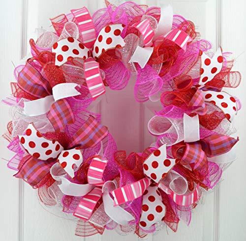 Valentine's Day Wreath | Valentine Wreath | Valentines Mesh Door Wreath; Red Pink White Purple : V1