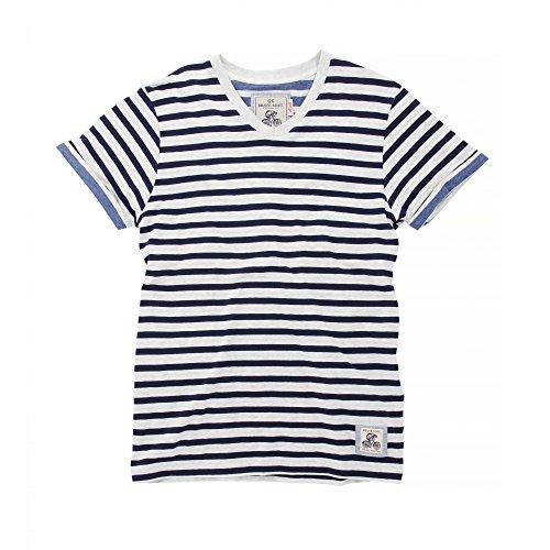 Brave Soul Herren Boson T-Shirt, gestreift, kurzärmlig (XL) (Ecru meliert/Meer/Blau meliert)