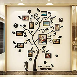 Family Tree Wall Decal. Peel & Stick Vinyl Sheet, Easy to Install & Apply History Decor Mural for Home, Bedroom Stencil Decoration. DIY Photo Gallery Frame Decor Sticker (CAT)