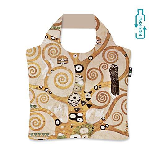 ecozz The Tree of Life - Gustav Klimt, faltbar, Einkaufstasche mit Reißverschluss, Wiederverwendbar, Tragetasche, Handtasche, Tote Bag, Strandtasche, Umweltfreundlich, Einkaufsbeutel