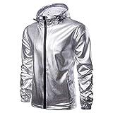 Hffan Herren Einfarbig Metallisches Silber Mantel Jacke Langarm Übergangsjacke Biker Kapuzenjacke Jacken Coat Jacke Outwear Sportjacke Winterjacke Herrenjacke(Silber,Large)