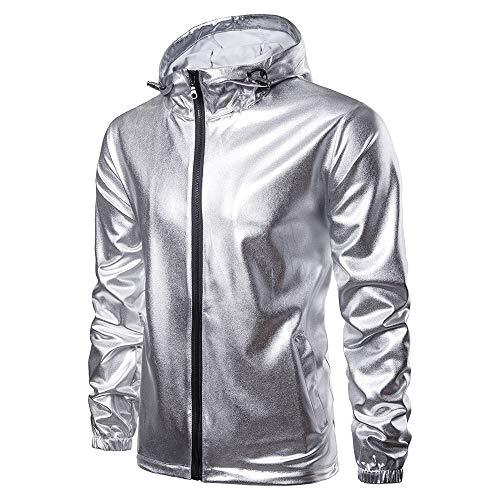 Hffan Herren Einfarbig Metallisches Silber Mantel Jacke Langarm Übergangsjacke Biker Kapuzenjacke Jacken Coat Jacke Outwear Sportjacke Winterjacke Herrenjacke(Silber,XX-Large)