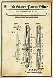 Schatzmix United States Patent Office - Design for Fountain Pen Pistol - Entwurf für eine Füllfederhalter - Gaylord 1954 - Design No 2.844.902 - Blechschild