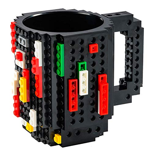 Goods & Gadgets Build on Brick Mug Bausteine Kaffeetasse - Bausteine Tasse Bauklötze Kaffee-Becher 350ml (Schwarz)