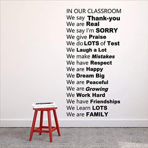 Klassenzimmer-Regeln Vinyl Wall Decal DecorIn unserem Klassenzimmer sagen wir Ihnen Dank Schule und Klassenzimmer Dekorationen 80X40cm