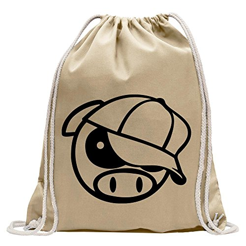 Kiwistar Cerdo con Pesas Divertida Mochila Deportivo para el Fitness. Gymbag para lo Shopping de algodón con cordón, Unisex Adulto, Natura, 37 x 46cm