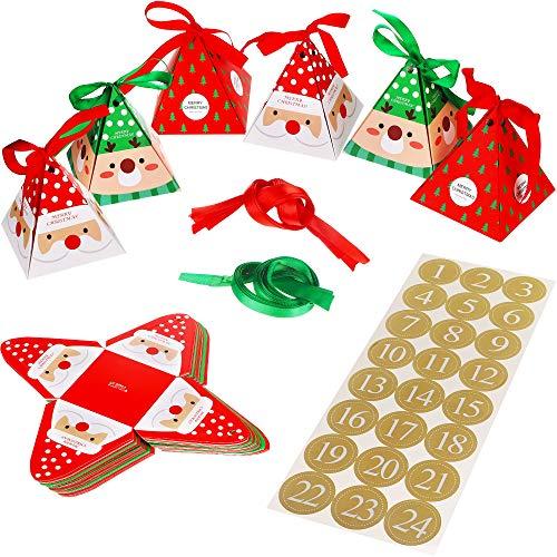 Kits de DIY Calendario de Navideño Haz lo Tuyo DIY Calendario con Santa Claus Caja de Caramelo Pegatinas de Números 1 a 24 para Festival Fiesta Suministro de Año Nuevo