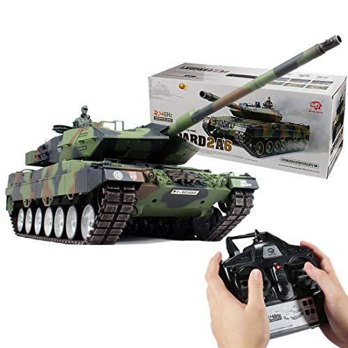 LMIITAM 1:16 2,4G RC Militärpanzer Deutscher Leopard 2A6 Hauptkampfpanzer mit Ton, Rauch, Schießen Wirkung-Metall Ultimate Auflage