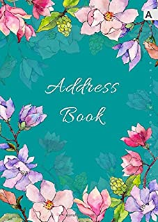 Address Book: A4 Big Contact Notebook Organizer | A-Z Alphabetical Sections | Large Print | Magnolia Wildflower Watercolor Design Teal