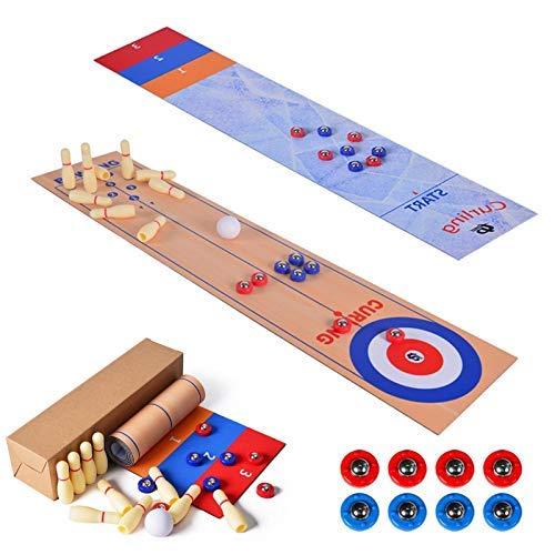 LANGYA 3 en 1 Mesa Top Shuffleboard, Curling Juego y Bolos Set Portable Family Fun Board Games Shuffleboard Pucks con 8 rolllers para niños y Adultos para la diversión Interior y al Aire Libre.