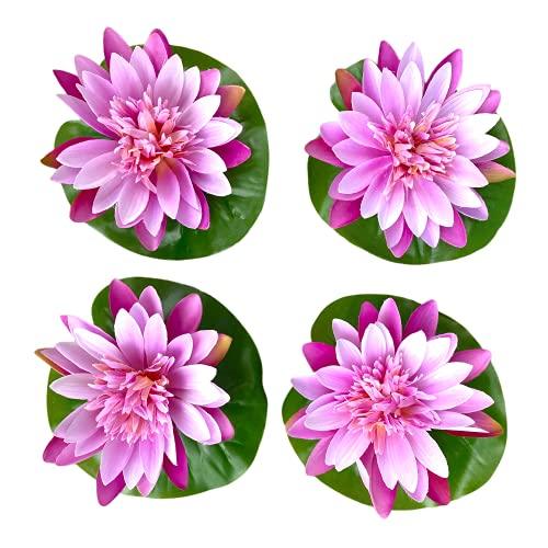 Künstliche Seerose Lotusblüte Teichdeko schwimmende Kunstpflanzen für Teiche Dekoration für Garten Haus Hochzeit (4 Stück Set 15cm, Violett)