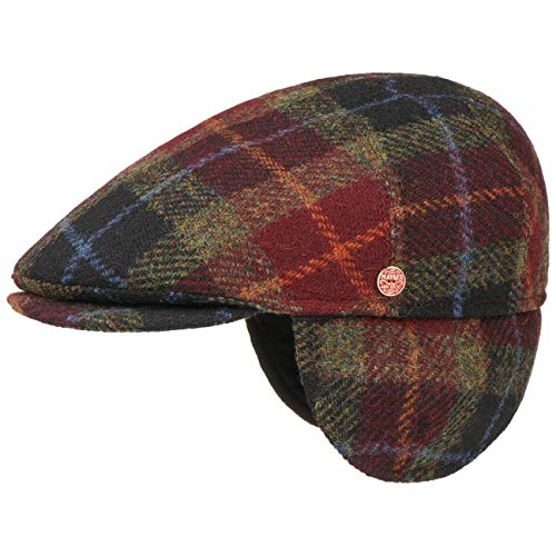 Mayser Casquette Simon Harris Tweed Homme - Made in The EU Plate Laine avec Visiere, Oreillettes, Doublure Automne-Hiver - 56 cm Rouge Fonce