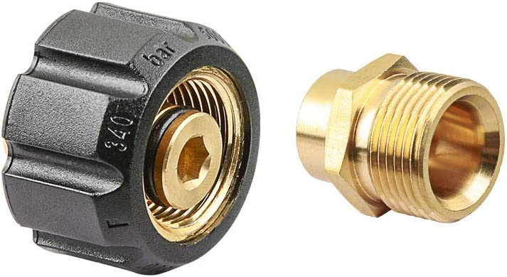 Brass Male 22 to G1//4// G3//8 Female Adapter for Pressure Washer Twist Connect