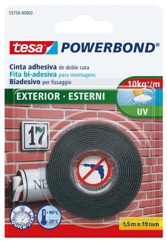 tesa Powerbond Nastro BiAdesivo Forte per Esterni, 1.5 m x 19 mm