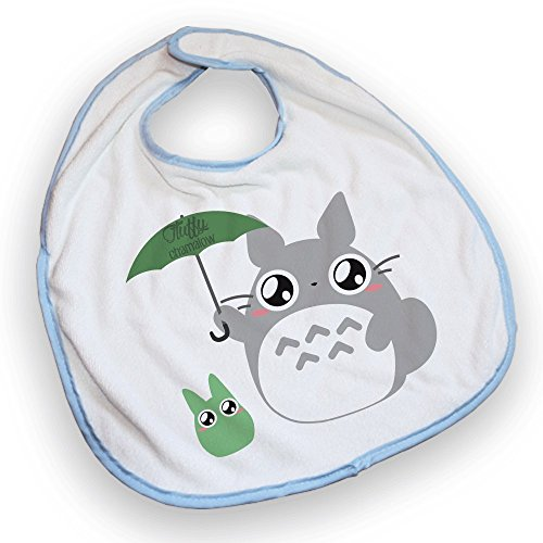 Bavoir bleu Totoro Parapluie chibi et kawaii by Fluffy chamalow - Fabriqué en France - Chamalow Shop