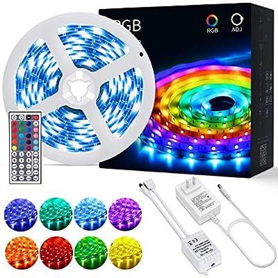 Tira de LED RGB 5050: con 20 colores disponibles, superbrillante y con 6 modos de iluminación. Control remoto de 44 teclas. Larga vida útil: chip LED de alta calidad (no impermeable), con buena dispersión térmica que permite una vida útil hasta de 50...