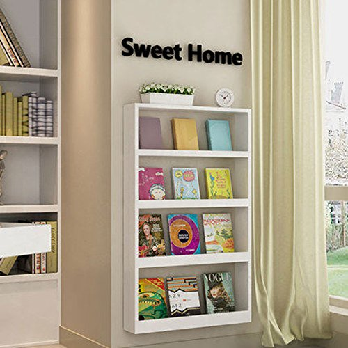 WLH- Children's Creative Bookshelf Display Rack Wall Mount Simple Bureau Magazine Shelf Bedroom Muur Shelf (Color : White)