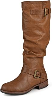 Journee Collection Womens Extra Wide-Calf Buckle Knee-High Riding Boot