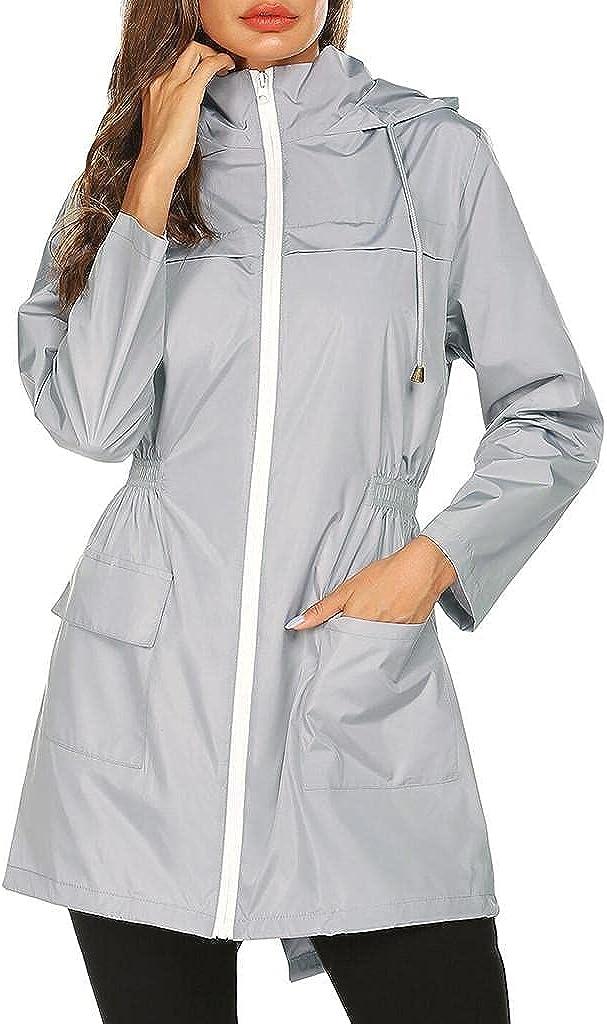 Windbreaker Women Waterproof Lightweight Rain Jacket Active Outdoor Hooded Raincoat Packable Outdoor Trench Coat