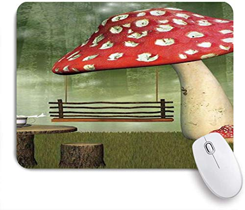 Benutzerdefiniertes Büro Mauspad,Picknick in Fantasy Garden Wood Table Swing Teekanne und Milk Splash,Anti-slip Rubber Base Gaming Mouse Pad Mat