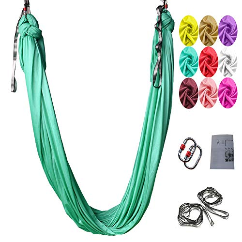 Aerial Yoga Swing Set,L:5M W:2.8M Anti Gravity Hammock Lnversion Exercises Lnclude 2 Carabiner,2 Daisy Chain, 1 Hanging Instructions. (Fruit Green)