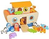 Tooky Toy - Arca de Noé con animales - Juguete de madera clásico a...