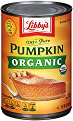 100 percent pure organic pumpkin; usda organic Good source of fiber Low in fat No gmo ingredients Naturally gluten free